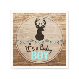 Antlers Wood Rustic Country Its A Boy Baby Shower Paper Napkin