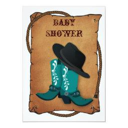 aqua cowboy boots western mommy baby shower