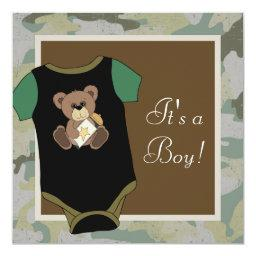 Army Green Camouflage Baby Boy Shower