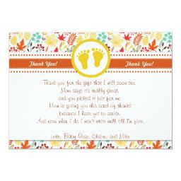 Autum Fall Baby Shower Thank You  Note
