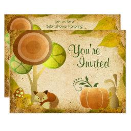 Autumn Gold Woodland Fox Bunny  Invite