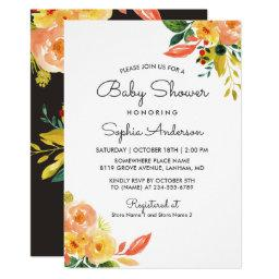 Autumn Peach Floral Adorable Fall Baby Shower