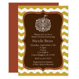 Autumn Pumpkin & Gold Chevron Elegant