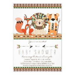 Aztec Tribal Fox Lion Tiger Baby Shower