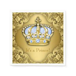 Baby Blue and Gold Crown  Napkin