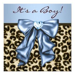 Baby Blue Brown Leopard Baby Boy Shower