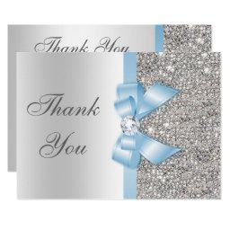 Baby Blue Faux Bow Silver Sequins Thank You