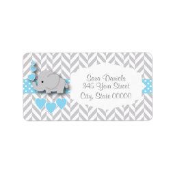 Baby Blue, White and Gray Elephant  Label