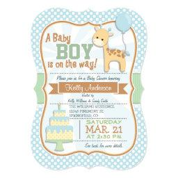 Baby Boy Giraffe, Pastel Baby Shower Invite