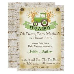 Baby Boy Shower  - Green Tractor