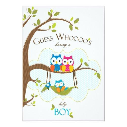 Baby Boy Shower  - Owl Family