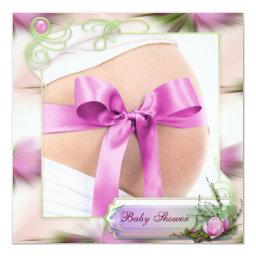 Baby Bump with Pink Bow Pink Magnolia