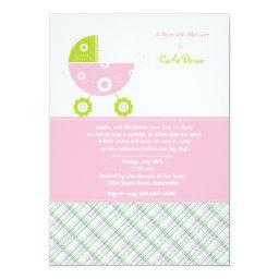 Baby Carriage Pink Sprinkle Shower