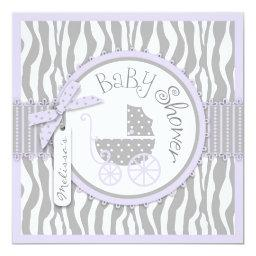 Baby Carriage, Zebra Print & Lavender Baby Shower