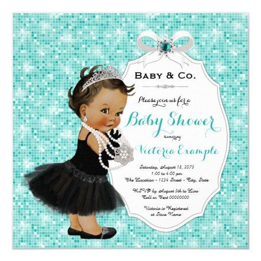 baby shower baby co black teal blue ethnic baby girl shower card