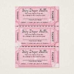 Baby Diaper Raffle Tickets Pink