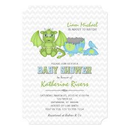 Baby Dragon Baby Shower  Green Blue Gray
