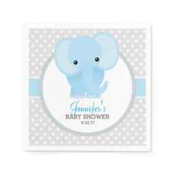 Baby Elephant (blue) Baby Shower Napkin
