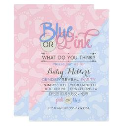 Baby Gender Reveal Party Pink Blue Footprint Invitations