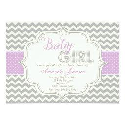 Baby Girl Mod Chic Chevron  Invite