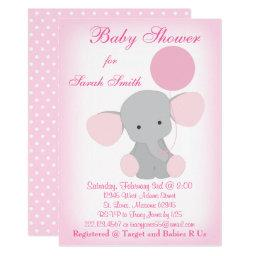 Baby Girl Shower  Elephant Pink Gray
