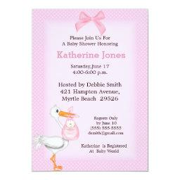 Baby Girl Shower Invitation(Stork)