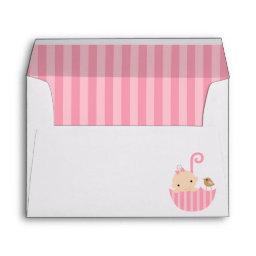 Baby in Pink Umbrella Girl  Envelope