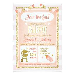 Baby Q  Coed BBQ  Invite Pink
