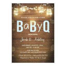 Baby Q  Coed BBQ Baby Shower Rustic Blue