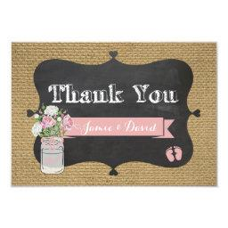BaBy-Q Shower Burlap Mason Jar Thank You