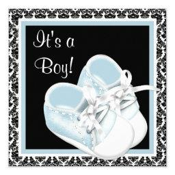 Baby Shoes Black and Blue Damask Baby Boy Shower