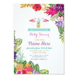 Baby Shower Aloha Luau Flamingo Invite