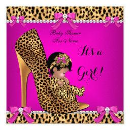 Baby Shower Baby Cute Girl Leopard Hot Pink Shoe C