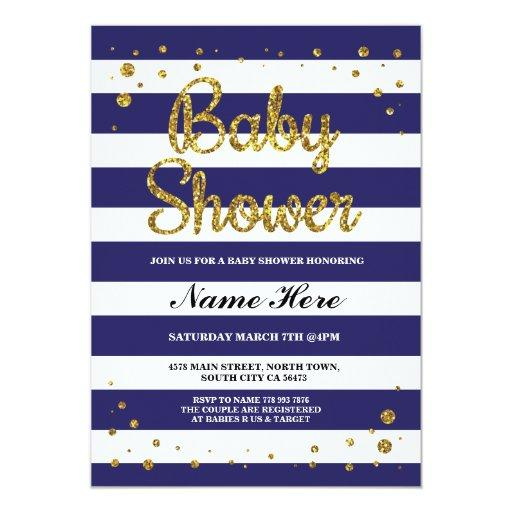 Blue Navy Stripe Gold Glitter Invite
