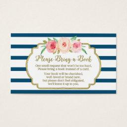 Baby Shower Book Request  Pink Floral Navy