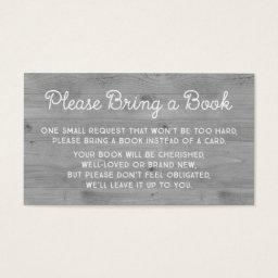 Baby Shower Book Request  Rustic Grey Wood