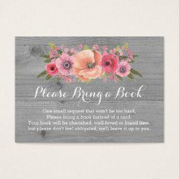 Baby Shower Book Request  Rustic Wood Floral