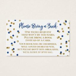Baby Shower Book Request Navy Blue Gold Confetti