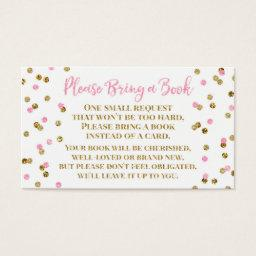 Baby Shower Book Request Pink Gold Confetti