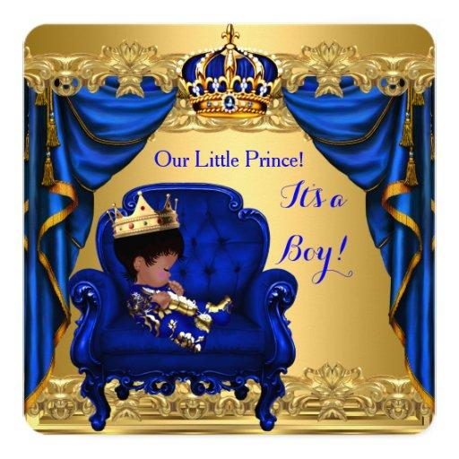 baby shower baby shower boy little prince royal blue golden card