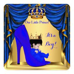 Baby Shower Boy Prince Royal Blue Shoe Gold 5