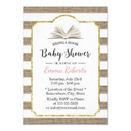 Baby Shower Bring a Book Request Burlap Stripes