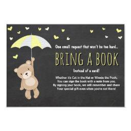 Baby Shower Bring a Book Teddy Bear Yellow Neutral