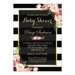 Baby Shower Classy Floral Gold Black White Stripes