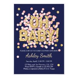 Baby Shower Confetti Pink Gold Navy