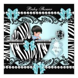 Cute Baby Boy Blue Zebra Lace
