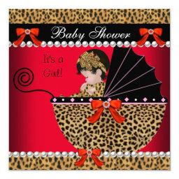 Cute Baby Girl Red Leopard Bow
