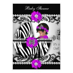 Baby Shower Cute Baby Girl Zebra Purple Pink Black