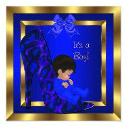 Baby Shower Cute Boy Royal Blue Shoe Leopard
