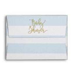 Baby Shower | Elegant Gold Confetti & Blue Stripes Envelope